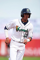 Cedar Rapids Kernels designated hitter Nelson Molina (23) during a game against the Dayton Dragons on July 24, 2016 at Perfect Game Field in Cedar Rapids, Iowa.  Cedar Rapids defeated Dayton 10-6.  (Mike Janes/Four Seam Images)