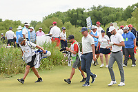 Keith Mitchell (USA) and Kevin Tway (USA) make their way down 1 during round 4 of the AT&T Byron Nelson, Trinity Forest Golf Club, at Dallas, Texas, USA. 5/20/2018.<br /> Picture: Golffile | Ken Murray<br /> <br /> All photo usage must carry mandatory copyright credit (© Golffile | Ken Murray)