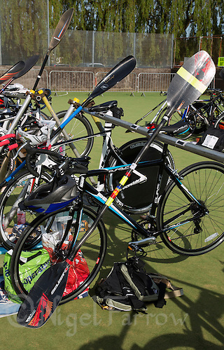 26 MAY 2013 - BRIGG, GBR - A competitors equipment  in transition before the start of the 2013 Brigg Bomber Quadrathlon, a World Quadrathlon Federation World Cup round and the British Championships, held in Brigg in Lincolnshire, Great Britain .(PHOTO (C) 2013 NIGEL FARROW)