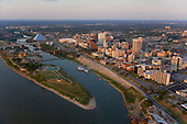 Memphis waterfront and Mud Island on Mississippi River