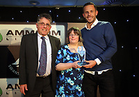 Pictured: Gylfi Sigurdsson (R) receives an award by Hugo Valario (L) Wednesday 18 May 2017<br />Re: Swansea City FC, Player of the Year Awards at the Liberty Stadium, Wales, UK.