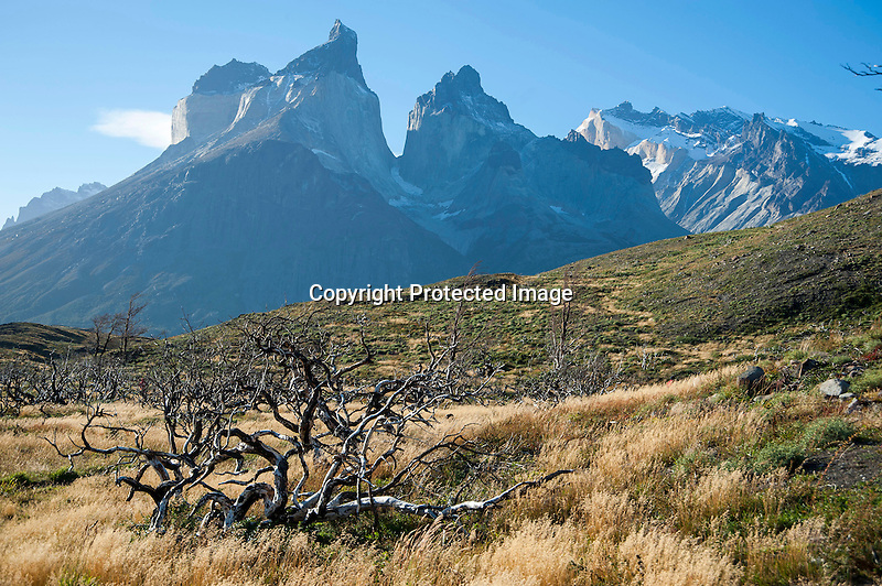 View of Los Cuernos Towering Mountain Peaks in Torres del Paine National Park in Patagonia Chile