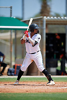 GCL Marlins Luis Arcaya (8) at bat during a Gulf Coast League game against the GCL Astros on August 8, 2019 at the Roger Dean Chevrolet Stadium Complex in Jupiter, Florida.  GCL Astros defeated GCL Marlins 4-2.  (Mike Janes/Four Seam Images)