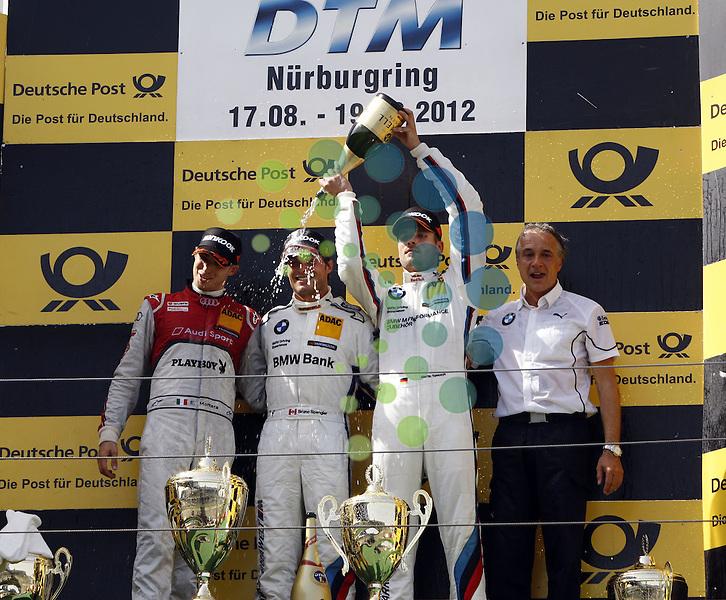 DTM 2012,06.Lauf Nürburgring,17.08.-19.08.12 .Podium: 2.Edoardo Mortara (CH#21) Audi Sport Team Rosberg, 1.Bruno Spengler (CDN#7) BMW Team Schnitzer, 3.Martin Tomczyk (D#1) BMW Team RMG, Schnitzer Teamchef Charly Lamm..Hasan Bratic;Koblenzerstr.3;56412 Nentershausen;Tel.:0172-2733357;.hb-press-agency@t-online.de;http://www.uptodate-bildagentur.de;.Veroeffentlichung gem. AGB - Stand 09.2006; Foto ist Honorarpflichtig zzgl. 7% Ust.; Steuer-Nr.: 30 807 6032 6;Finanzamt Montabaur;  Nassauische Sparkasse Nentershausen; Konto 828017896, BLZ 510 500 15;SWIFT-BIC: NASS DE 55;IBAN: DE69 5105 0015 0828 0178 96; Belegexemplar erforderlich!.
