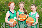 Practising their basketball skills at the Team Kerry Basketball Camp in Causeway last week. .L-R Lorraine Kenny, Sarah Leahy and Amy Martin.