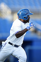 Dunedin Blue Jays outfielder Roemon Fields (2) runs to first during a game against the Bradenton Marauders on April 14, 2015 at Florida Auto Exchange Stadium in Dunedin, Florida.  Bradenton defeated Dunedin 7-1.  (Mike Janes/Four Seam Images)
