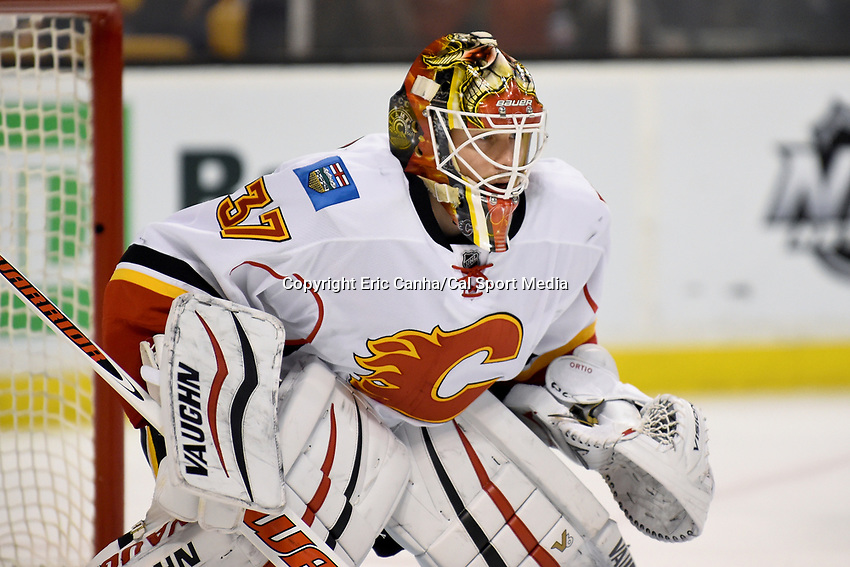 Tuesday March 1, 2016: Calgary Flames goalie Joni Ortio (37)tends net during the National Hockey League game between the Calgary Flames and the Boston Bruins, held at TD Garden, in Boston, Massachusetts. Boston defeats Calgary 2-1 in regulation time. Eric Canha/CMS