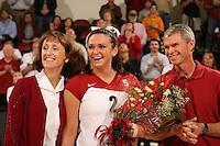 18 November 2005: Katie Goldhahn during Stanford's 3-2 win over California in the Big Spike at Maples Pavilion in Stanford, CA.
