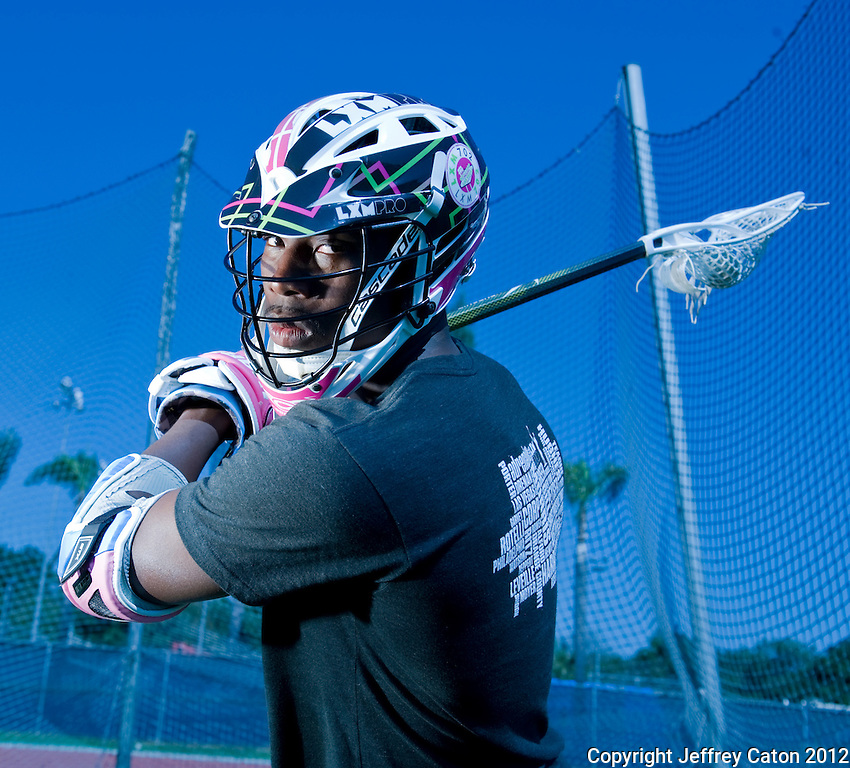 Lacrosse --- Los Angeles, Ca, U.S.A:  Lacrose Player poses for a portrait at Cal. State Fullerton.  Photo by Jeffrey Caton, Sports Shooter Academy