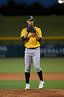 AZL Athletics Gold relief pitcher Jack Cushing (35) during an Arizona League game against the AZL Cubs 1 at Sloan Park on June 20, 2019 in Mesa, Arizona. AZL Athletics Gold defeated AZL Cubs 1 21-3. (Zachary Lucy/Four Seam Images)
