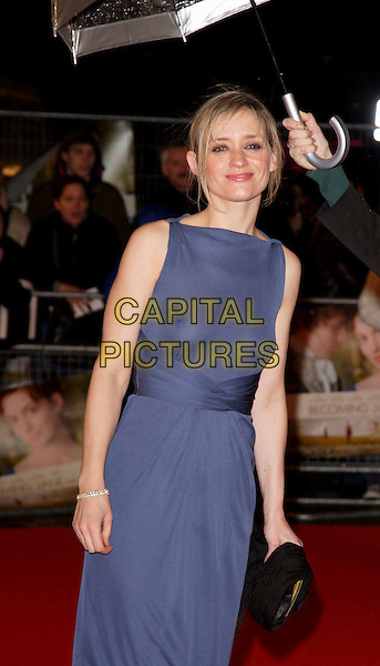 "ANNE-MARIE DUFF.At the World Premiere of ""Becoming Jane"" at the Odeon West End Cinema, Leicester Square, London, England,.March 4th 2007..half length blue dress see through thru sheer nipples breasts boobs anne marie 3/4.CAP/ROS.©Steve Ross/Capital Pictures."