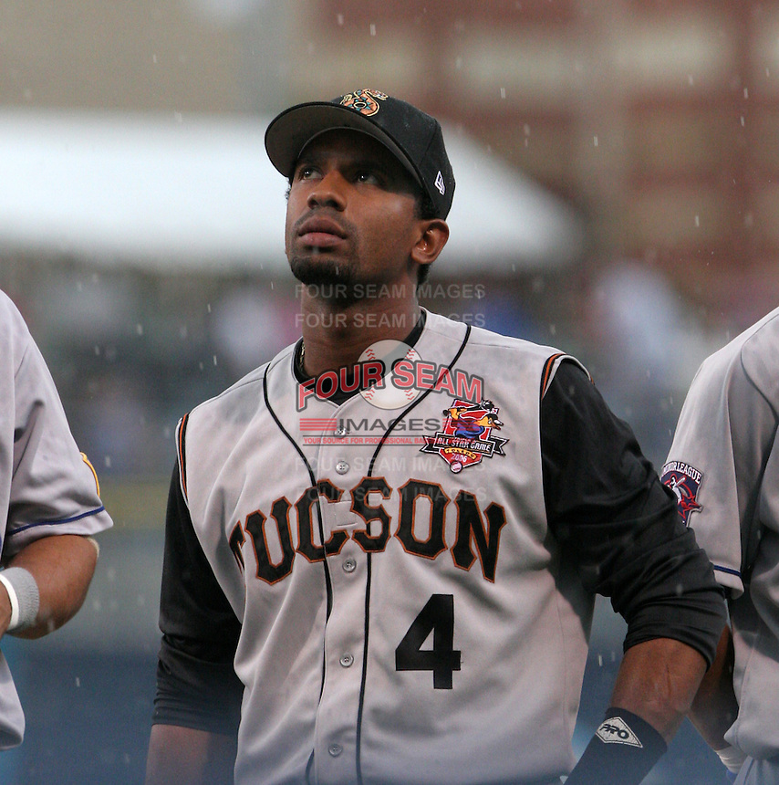 Tucson Sidewinders Alberto Callaspo #4 during introductions before the Triple-A All-Star Game at Fifth Third Field on July 12, 2006 in Toledo, Ohio.  (Mike Janes/Four Seam Images)