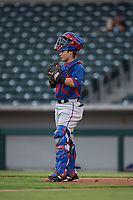 AZL Rangers catcher David Garcia (9) during an Arizona League game against the AZL Cubs 2 at Sloan Park on July 7, 2018 in Mesa, Arizona. AZL Rangers defeated AZL Cubs 2 11-2. (Zachary Lucy/Four Seam Images)