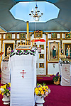 Interior of Holy Transfiguration of Our Lord Chapel, Ninilchik, Kenai Peninsula, Southcentral Alaska.