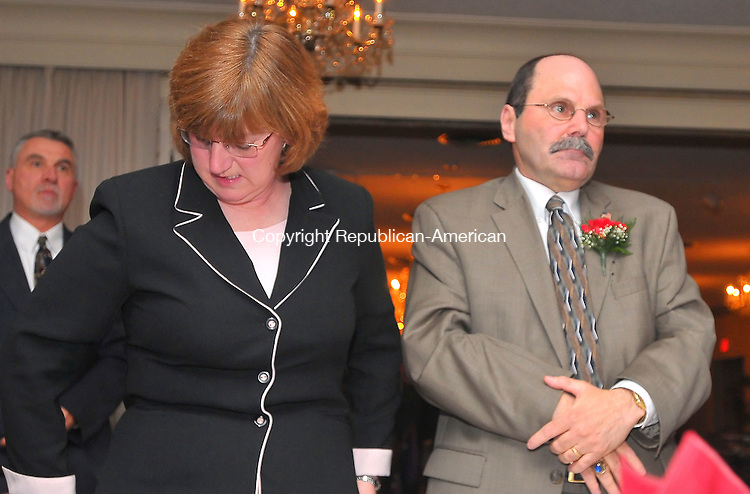 TORRINGTON, CT- 28 MARCH 2009 --032809JS08--Leo A Martignene, of O&amp;G Industries, right, stands with his wife Jayne Martigneni during the American Red Cross-Waterbury Area Chapter's 2009 Heroes Gala and Community Impact Award dinner Saturday at the Cornucopia Banquet Hall in Torrington. Leo Martigneni was honored during the gala with the Lifetime Community Service Award.<br /> Jim Shannon Republican-American