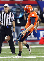 ATLANTA, GA - DECEMBER 31: Jimmy Howell #8 of the Virginia Cavaliers punts the ball during the 2011 Chick Fil-A Bowl against the Auburn Tigers at the Georgia Dome on December 31, 2011 in Atlanta, Georgia. Auburn defeated Virginia 43-24. (Photo by Andrew Shurtleff/Getty Images) *** Local Caption *** Jimmy Howell