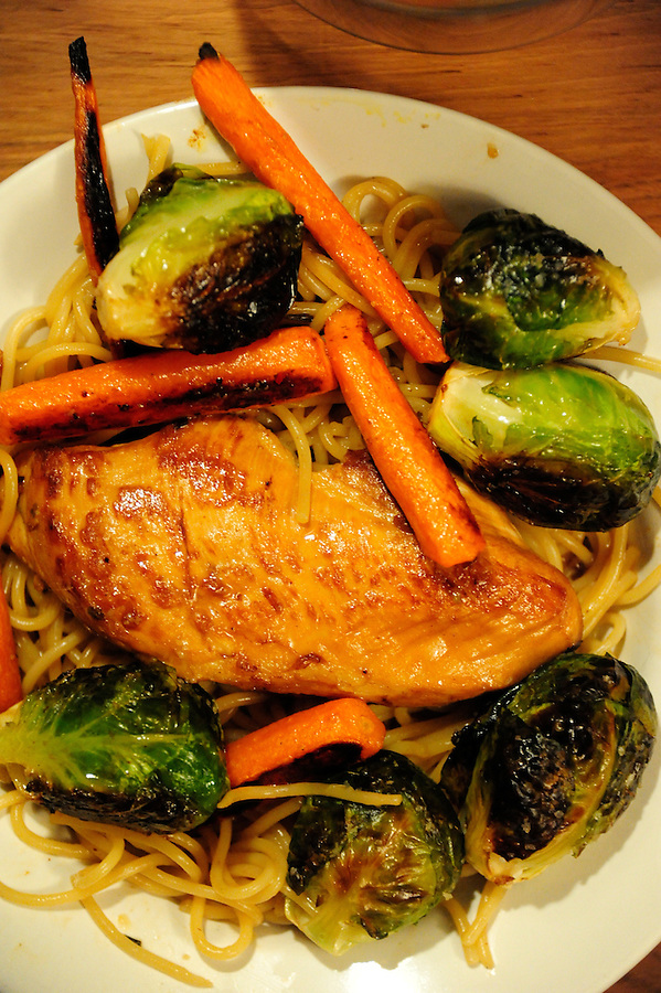copyright JimMendenhallPhotos.com 2013 May 16, 2013   uncaptioned<br /> <br /> Chicken Breast with broiled Brussel Sprouts and Carrots and pasta.