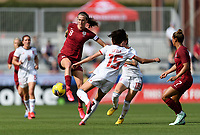 FRISCO, TX - MARCH 11: Jill Scott #8 of England and Leila Ouahabi #15 of Spain battle for control of a loose ball during a game between England and Spain at Toyota Stadium on March 11, 2020 in Frisco, Texas.