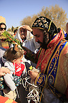Jordan Valley, Qasr al Yahud. Syrian Orthodox Church celebrates the Feast of Theophany at the place of Jesus' baptism by John the Baptist, a blessing