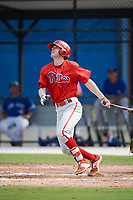 Philadelphia Phillies Jake Holmes (9) follows through on a swing during an Instructional League game against the Toronto Blue Jays on October 7, 2017 at the Englebert Complex in Dunedin, Florida.  (Mike Janes/Four Seam Images)