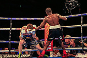30th September 2017, Echo Arena, Liverpool, England; Matchroom Boxing, Eliminator for WBA Bantamweight World Championship;  WBA International Super-Lightweight Championship tom farrell versus ohara davies; Ohara Davies land another left hook on Tom Farrell's chin