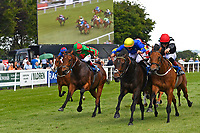 Winner of The Sharp's Doom Bar Handicap, Secret Agent red cap ridden by George Wood and trained by William Muir during Afternoon Racing at Salisbury Racecourse on 13th June 2017