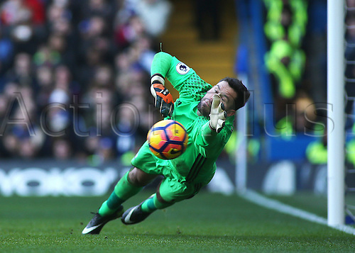 11.12.2016. Stamford Bridge, London, England. Premier League Football. Chelsea versus West Bromwich Albion. West Brom Goalkeeper Ben Foster covers a Chelsea free kick, and sees it go wide of his post