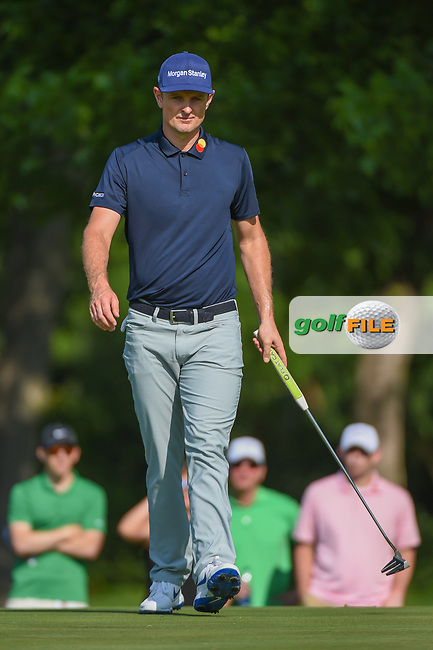 Justin Rose (GBR) barely misses his long birdie putt on 2 during round 3 of the 2019 Charles Schwab Challenge, Colonial Country Club, Ft. Worth, Texas,  USA. 5/25/2019.<br /> Picture: Golffile | Ken Murray<br /> <br /> All photo usage must carry mandatory copyright credit (© Golffile | Ken Murray)
