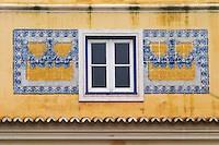 Window with Portuguese tiles. Lisbon, Portugal