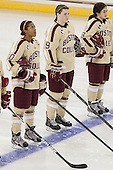 Blake Bolden (BC - 10), Taylor Wasylk (BC - 9), Dana Trivigno (BC - 8) - The visiting University of Minnesota Duluth Bulldogs defeated the Boston College Eagles 3-2 on Thursday, October 25, 2012, at Kelley Rink in Conte Forum in Chestnut Hill, Massachusetts.