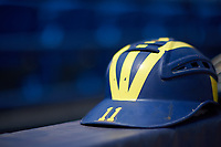 Michigan Wolverines catchers helmet belonging to Harrison Salter (11) before a game against Army West Point on February 17, 2018 at Tradition Field in St. Lucie, Florida.  Army defeated Michigan 4-3.  (Mike Janes/Four Seam Images)