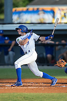 Logan Gray (9) of the Burlington Royals follows through on his swing against the Bluefield Blue Jays at Burlington Athletic Stadium on June 28, 2016 in Burlington, North Carolina.  The Royals defeated the Blue Jays 4-0.  (Brian Westerholt/Four Seam Images)
