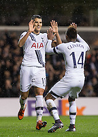 Erik Lamela of Tottenham Hotspur celebrates scoring his hat trick  with Clinton N'Jie of Tottenham Hotspur during the UEFA Europa League group match between Tottenham Hotspur and Monaco at White Hart Lane, London, England on 10 December 2015. Photo by Andy Rowland.