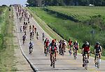 RAGBRAI Thursday  -- Riders coast down a hill south of Clarksville Thursday morning on RAGBRAI XXVIII.