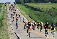 RAGBRAI Thursday  -- Riders coast down a hill south of Clarksville Thursday morning on RAGBRAI XXVIII.