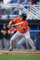 Aberdeen IronBirds right fielder Cole Billingsley (4) squares to bunt during a game against the Batavia Muckdogs on July 15, 2016 at Dwyer Stadium in Batavia, New York.  Aberdeen defeated Batavia 4-2.  (Mike Janes/Four Seam Images)