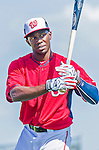 5 March 2015: Washington Nationals outfielder Derrick Robinson awaits his turn in the batting cage prior to a Spring Training game against the New York Mets at Space Coast Stadium in Viera, Florida. The Nationals rallied to defeat the Mets 5-4 in Grapefruit League play. Mandatory Credit: Ed Wolfstein Photo *** RAW (NEF) Image File Available ***