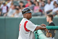 Albuquerque Isotopes manager Glenallen Hill (31) during the game against the Salt Lake Bees in Pacific Coast League action at Smith's Ballpark on June 27, 2015 in Salt Lake City, Utah. The Bees defeated the Isotopes 8-6. (Stephen Smith/Four Seam Images)