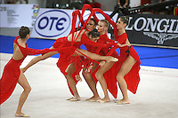 September 23, 2007; Patras, Greece;  Rhythmic group from Italy perform gala exhibition (leap-thru) at 2007 World Championships Patras.  Italy qualified in groups for 2008 Beijing Olympic Games.  Photo by Tom Theobald.