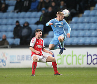 Fleetwood Town's Lewis Coyle in action with Coventry City's Luke Thomas <br /> <br /> Photographer Mick Walker/CameraSport<br /> <br /> The EFL Sky Bet League One - Coventry City v Fleetwood Town - Tuesday 12th March 2019 - Ricoh Arena - Coventry<br /> <br /> World Copyright &copy; 2019 CameraSport. All rights reserved. 43 Linden Ave. Countesthorpe. Leicester. England. LE8 5PG - Tel: +44 (0) 116 277 4147 - admin@camerasport.com - www.camerasport.com