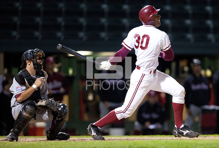 STANFORD, CA - March 1, 2011: Austin Wilson of Stanford baseball hits during Stanford's game against Santa Clara at Sunken Diamond. Stanford won 8-4.