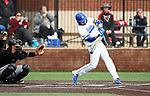SIOUX FALLS, SD - APRIL 6: Drew Beazley rips the game tying double in the 8th inning against Nebraska Omaha Saturday in Sioux Falls.   (Photo by Dave Eggen/Inertia)