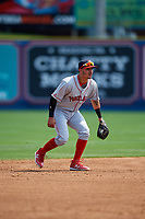 Portland Sea Dogs shortstop Jeremy Rivera (16) during the first game of a doubleheader against the Reading Fightin Phils on May 15, 2018 at FirstEnergy Stadium in Reading, Pennsylvania.  Portland defeated Reading 8-4.  (Mike Janes/Four Seam Images)
