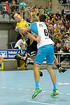 GER - Mannheim, Germany, September 23: During the DKB Handball Bundesliga match between Rhein-Neckar Loewen (yellow) and TVB 1898 Stuttgart (white) on September 23, 2015 at SAP Arena in Mannheim, Germany. Final score 31-20 (19-8) .  Harald Reinkind #27 of Rhein-Neckar Loewen, Dominik Weiss #6 of TVB 1898 Stuttgart<br /> <br /> Foto &copy; PIX-Sportfotos *** Foto ist honorarpflichtig! *** Auf Anfrage in hoeherer Qualitaet/Aufloesung. Belegexemplar erbeten. Veroeffentlichung ausschliesslich fuer journalistisch-publizistische Zwecke. For editorial use only.