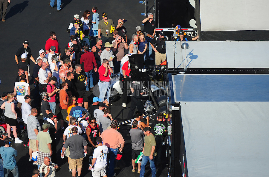 Apr. 13, 2012; Concord, NC, USA: NHRA fans in the pro pits during qualifying for the Four Wide Nationals at zMax Dragway. Mandatory Credit: Mark J. Rebilas-