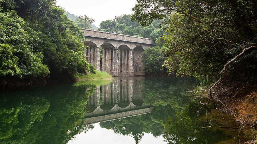 The first masonry bridge on the Tai Tam Tuk Reservoir (moving down the trail), Tai Tam Group of Reservoirs.<br /> <br /> Twenty-one structures (together with the Bowen Road aqueduct) make up he 88th Declared Monument on Hong Kong Island.