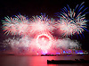 London New Year's Eve Fireworks 2016<br /> The Mayor of London's annual fireworks celebration takes place by the London Eye on The Queen's Walk, London, Great Britain <br /> 31st December 2016 / 1st January 2017 after Big Ben has chimed midnight.<br /> <br /> Photograph taken from across the River Thames next to the RAF Memorial on Victoria Embankment. <br /> <br /> <br /> Photograph by Elliott Franks <br /> Image licensed to Elliott Franks Photography Services