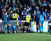 6th January 2018, Welford Road Stadium, Leicester, England; Aviva Premiership rugby, Leicester Tigers versus London Irish; Jonny May (Tigers) scores a try in the corner after 42 minutes