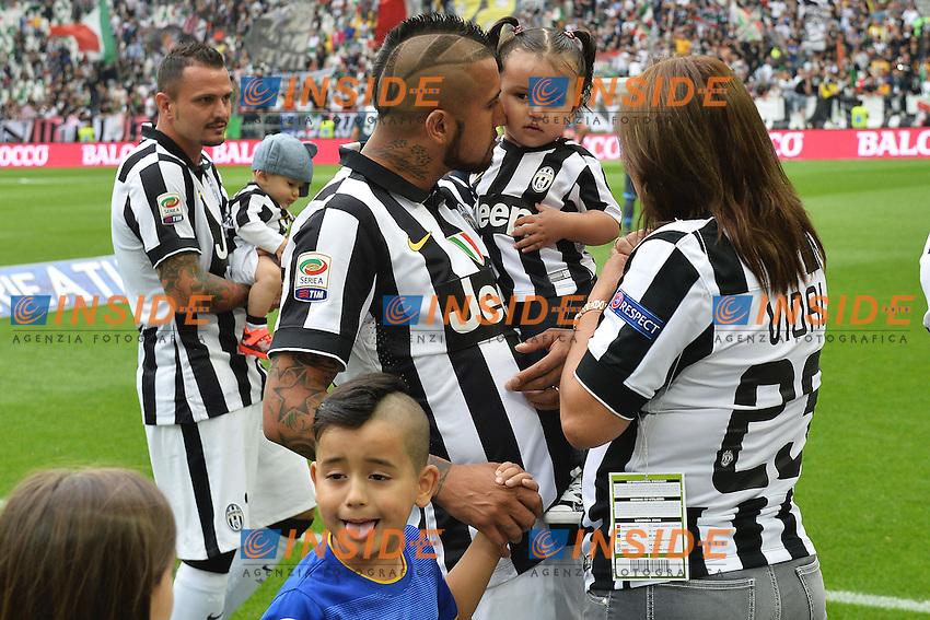 Arturo Vidal con la moglie e i Figli sons<br /> Torino 23-05-2015 Juventus Stadium Football Calcio Serie A 2014/2015 Juventus - Napoli . Foto Andrea Staccioli / Insidefoto
