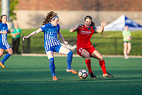Boston, MA - Friday May 19, 2017: Rose Lavelle and Mallory Weber during a regular season National Women's Soccer League (NWSL) match between the Boston Breakers and the Portland Thorns FC at Jordan Field.
